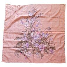 Large Shantung Thai Silk Scarf Peach Floral