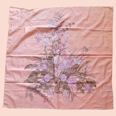 Large Shantung Thai Silk Scarf Peach Floral