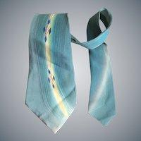 1950s Hand Painted Silk Necktie Mid Century Modern
