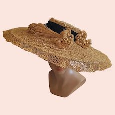 1930s Cartwheel Straw Hat 21 inches Across