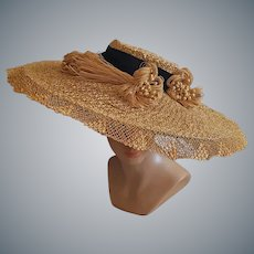 1930s Cartwheel Straw Hat 21 inches Across