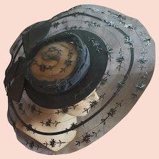 Late 1930s Wide Cartwheel Hat Black Beauty