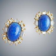 Faux Lapis and Rhinestone Pierced Earrings