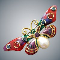 Butterfly Brooch Enameled Wings with Rhinestones