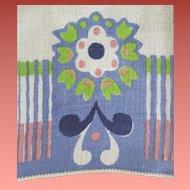 Vintage Linen Guest or Hand Towel Art Deco Flower Print Periwinkle so Pretty