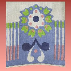 Vintage Linen Guest or Hand Towel Art Deco Flower Print Periwinkle so Pretty