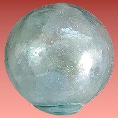 Blue Glass Ocean Fishing Float Round Ball 1950s Japan