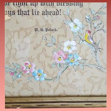 1920s Anniversary Motto Print Hand Painted Polack Framed