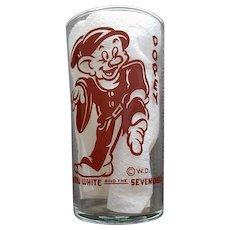 Vintage Dopey Glass Tumbler Walt Disney Snow White 7 Dwarfs