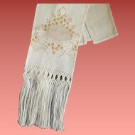 Antique Towel Drawn Work Hand Knotted Fringe Embroidery 100% Natural Linen 1900