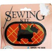 Vintage Scottish Terrier Sewing Kit Pocket / Purse Size MIP dated 1984