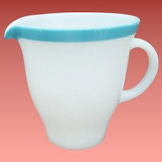 1950s Vintage Pyrex Creamer / Pitcher White with Turquoise Band Mid Century Modern