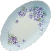 Wild Violets on Porcelain Vanity Dish Hand Painted Bouquet Sprays
