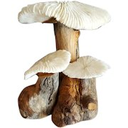 Vintage Natural Wood and Dried Decorative Mushrooms for Fairy Garden Sculpture