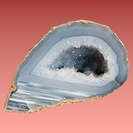 Sliced and Polished Natural Geode with Crystal Cavern
