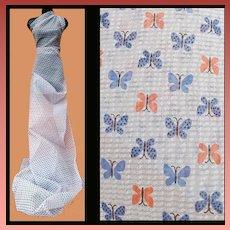 1940s - 1950s Nylon Seersucker Sewing Fabric Butterflies 4 yards
