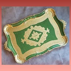 Large Vintage Florentine Tray Italy Mint Condition Gold Green