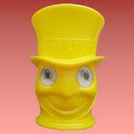 Jiminy Cricket Googly Lenticular Eye Cup Walt Disney Baker's Cocoa Advertising