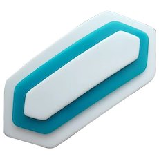 Vintage Hair Clip Barrette Layered Lucite Turquoise and White
