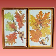 Vintage playing cards Hallmark Autumn Leaves Double Deck MIB