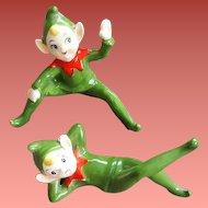 Two 1960s Christmas Elf Shelf Sitters Mid Century Ceramic Pixies