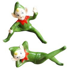 Two 1960s Christmas Elf Shelf Sitters Mid Century Ceramic Pixies