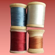 Vintage Silk  Sewing Thread on Wood Spools for Doll Clothing 1 Cotton