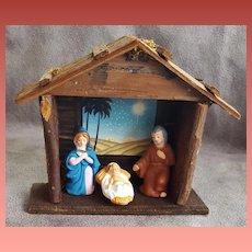 Vintage Creche Christmas Manger Christ Child Mary Joseph Japan