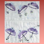 1950s Embroidered Pillowcases Cotton Tubing Violets on Parasols