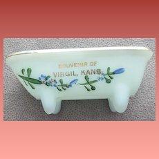Antique Souvenir Virgil, Kansas Blue Milk Glass Bathtub