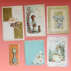 1950s - 1960s Greeting Cards Unused Embossed Glitter