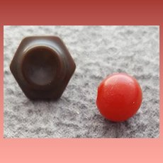 Two Vintage Bakelite Buttons Lipstick Red and Cocoa Brown