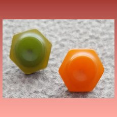 Two Hexagon Vintage Bakelite Buttons 1930s - 1940s
