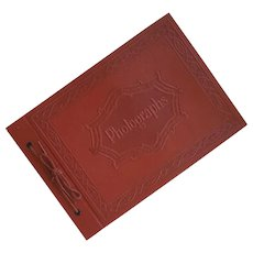 Small 1940s Embossed Photograph Album Scrapbook Black Pages