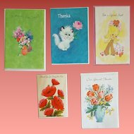 1960s Greeting Cards Mother's Day and Thank You
