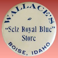 Antique Celluloid Advertising Pocket Mirror Wallace's Store Boise Idaho