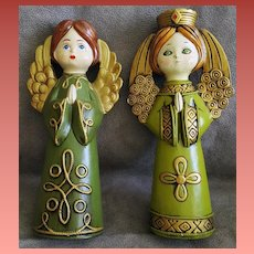 Two 1970s Angel Figures by Ardco of Japan Praying