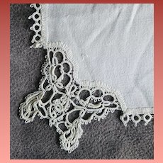 Four Antique Cotton Lawn Napkins With Tatted Lace Butterflies