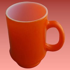 Vintage Coffee Mug Cup Orange Peel over Milk Glass 8 oz