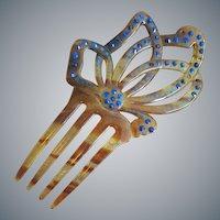 Art Nouveau Celluloid Hair Comb Rhinestones Faux Tortoise Shell