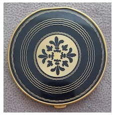 Large 1950s - 1960s Compact  Gold Black Fleur die Lis