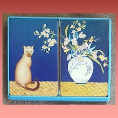 Vintage Playing Cards Siamese Cat Asian Vase Hallmark
