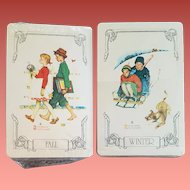 2 Sealed Decks Playing Cards Norman Rockwell Fall Winter