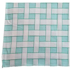 1960s Cotton Tablecloth Turquoise White Mid Century