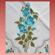 1960s Mid Century Cotton Tablecloth Turquoise Roses 66 X 50 inches
