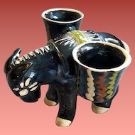 Black Donkey Mexican Pottery Tlaquepaque Folk Art
