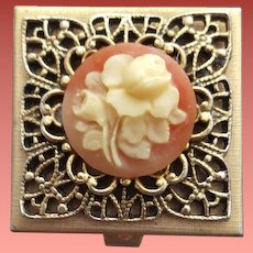 Vintage Vanity Pill Box Fancy Filigree Faux Rose Cameo