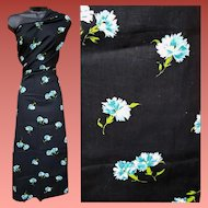 1940s Cotton Sewing Fabric 1-1/2 Yards Black Blue Carnations