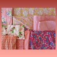 Vintage Fabric Sewing Quilt Scraps 1930s - 1940s Pinks