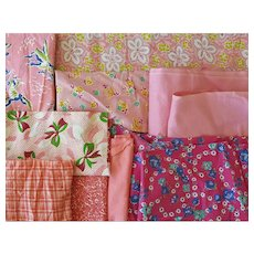 Vintage Fabric Sewing Quilt Scraps 1930s - 1940s